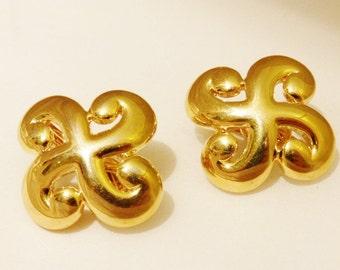 Vintage Large Clip on Gold Tone Trifari Earrings, Costume Jewelry