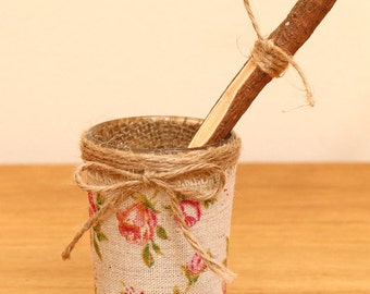 Rustic Twig pen with vintage inspired glass holder with fabric twine vintage rose pen holder for Wedding sign book
