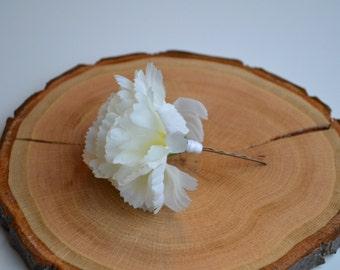 White Carnation Hair Accessory - floral hair pin
