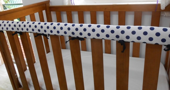Baby Cot Crib Rail Cover Teething Pad Navy Spots On White Also