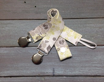 Pacifier Clip, Nuk, MAM, Soothie, Universal, baby girl, grey, green floral, neutral