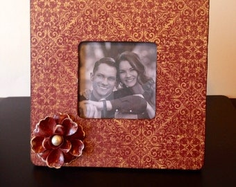 Painted Embellished Picture Frame, Burgundy,Cream,Classic Design, Floral, Photo Frame