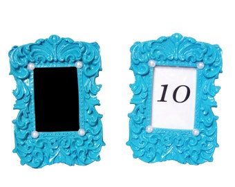 Table Number Picture Frame Turquoise Ornate Chalkboard Frame Blue Baby Shower Centerpiece Baroque Frame Pearl Birthday Party Decorations