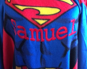 Super Hero inspired Youth Comfy Blanket Throw with Sleeves Personalized