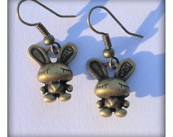 Bronze Effect Cute Rabbit Earrings