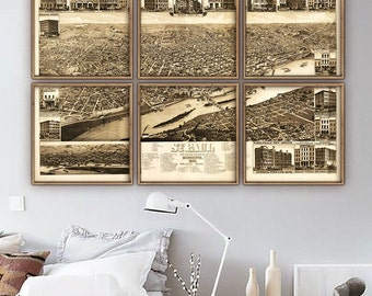 """Map of Saint Paul, MN 1883 St Paul map, panoramic view, in 5 sizes up to 72x48"""" Vintage bird's eye view - Limited Edition of 100"""