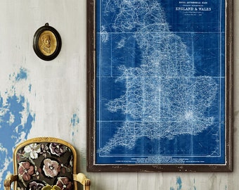 """Map of England 1920, Vintage England map up to 36x48"""" (90x120cm) Old Touring map of England, Wales, also in blue - Limited Edition - Print 5"""