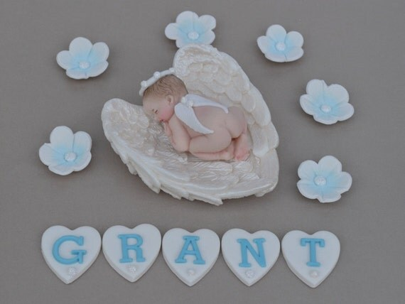 Cake Toppers Baby Christening : Edible baby angel Christening cake topper. Baby boys Baptism
