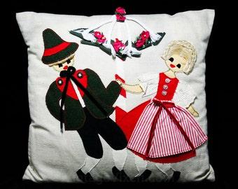 German Couple Pillow - Dancing Lady & Gent - Oktoberfest Style - Maypole - Spring - Summer - Celebration - Decorator - Linen - 2042005