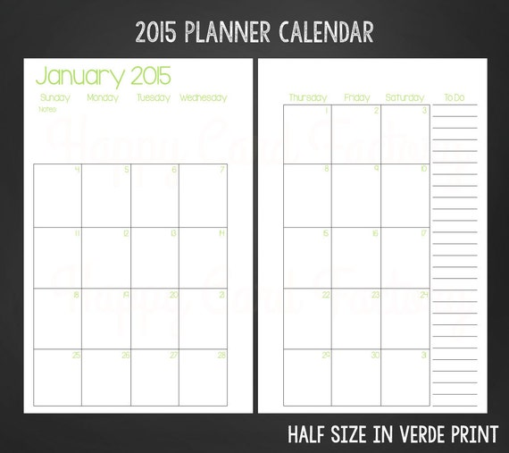 Half Page Monthly Calendar : A half monthly page planner by happycardfactory
