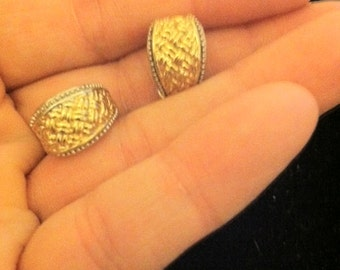 Premier Gold and Silver Basket Weave Pattern Small Clip Earrings
