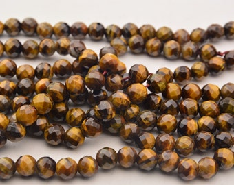 15 Inch  Yellow  Tiger's eye  Faceted  Bead 10mm Loose Bead