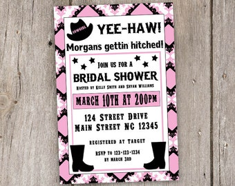 Cowgirl Bridal Shower Invitation, Country Bridal Shower, Digital, Invite, Printable, 4x6, 4by6