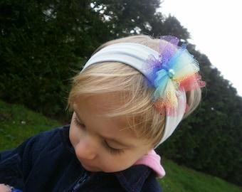 Headband baby girl, sky blue with Rainbow magic!