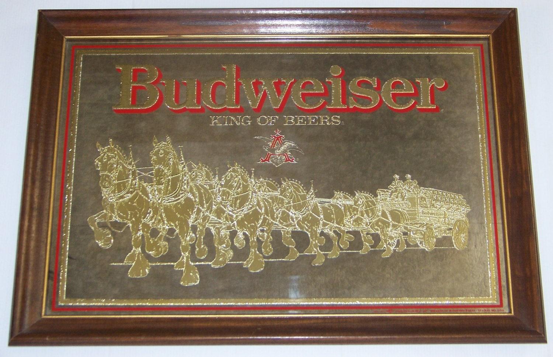Vintage Budweiser Anheuser Busch Mirror Clydesdale S