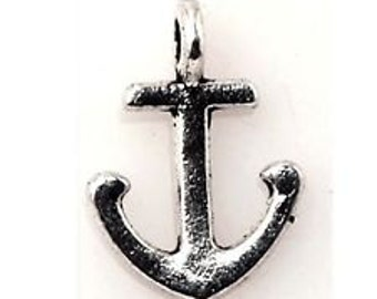Mini silver Tibetan anchor charm qty 10 silver anchor charms
