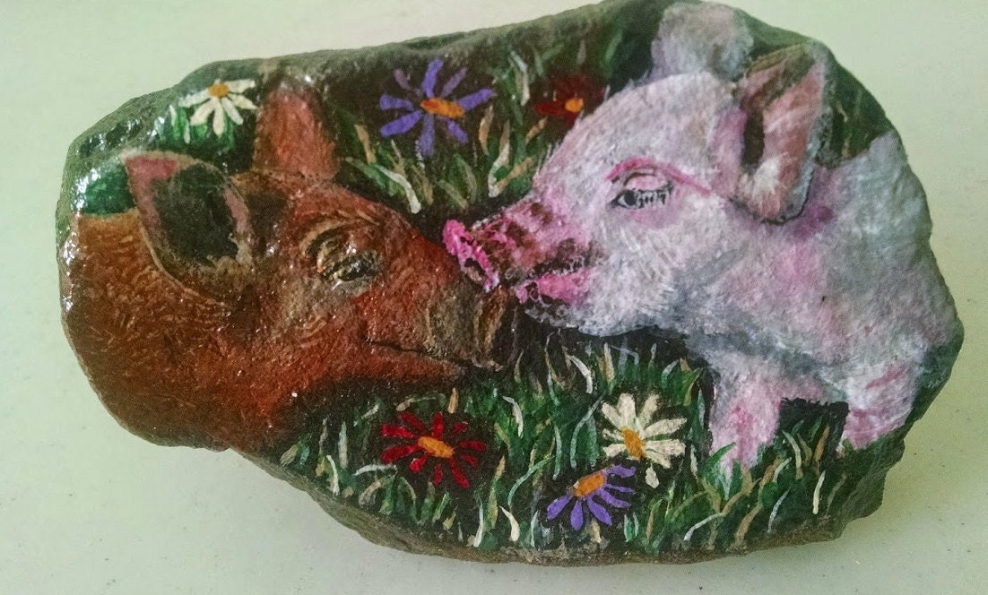 Pig Art Piggies Kissing Farm Animals Rock Painting Painted On