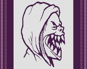 MONSTER DEMON devil / - Counted cross stitch pattern /grille point de croix ,Cross Stitch PDF, Instant download