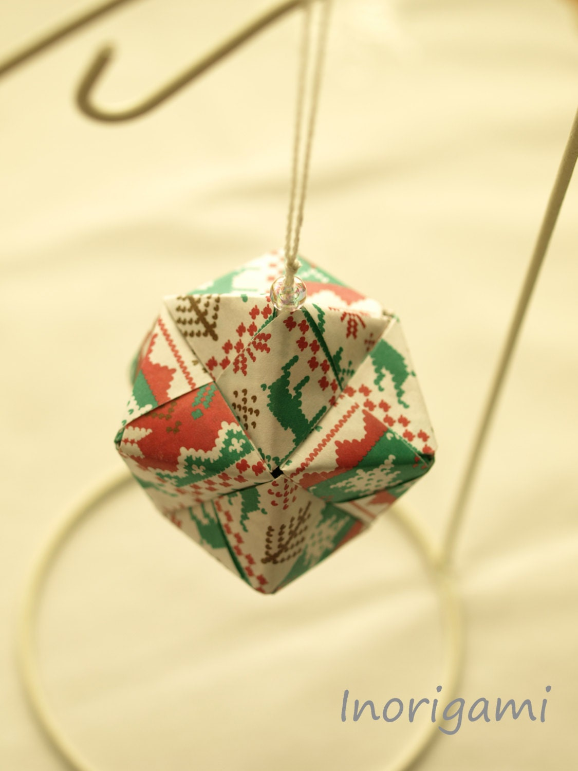Origami Kusudama Ball Ornament ( Winter knit pattern ) / Holiday Decoration / Kawaii Christmas Gift / Made in Japan X'mas Decor