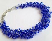 Blue Crochet Wire Necklace/ Jewelry Wire/ Necklacev crochet/ Crochet Wire Necklace/ Statement Necklace/ Jewelry Beads Wire