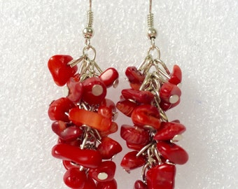 Genuine Natural Amethyst Coral Drop Dangle Earrings Mothers Day Gift Birthday Gift Party Gift