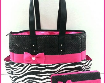 Zebra Diaper Bag. Hot Pink. Black Sequin. Bow. Tote  Wipe case. Personalized