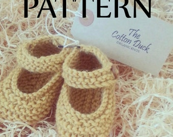 Knitted Mary Janes. PATTERN ONLY. Baby Booties. Girls shoes. New baby gift.