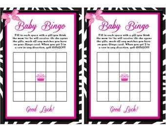 Zebra and Pink Baby Bingo ..............PDF Instant Download