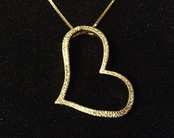 925 Gold CZ Heart Necklace