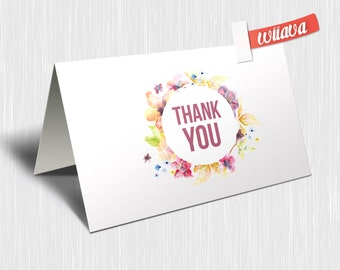Flowery Thank You Card / / DIY Printable Card