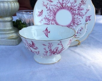 Coalport Red Birds and Branches Teacup and Saucer