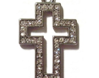 cross - silver metal cross with rhinestones about 1""