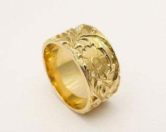 Flower wedding band, Unique wedding ring for women, Wide wedding band, Handmade wedding ring with floral pattern, 14 karat solid gold ring