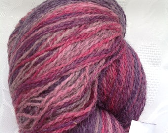 SALE! Aade long Artistic (Kauni) yarn 100% wool, PINK LILA, smooth transition of color. skein190 grams