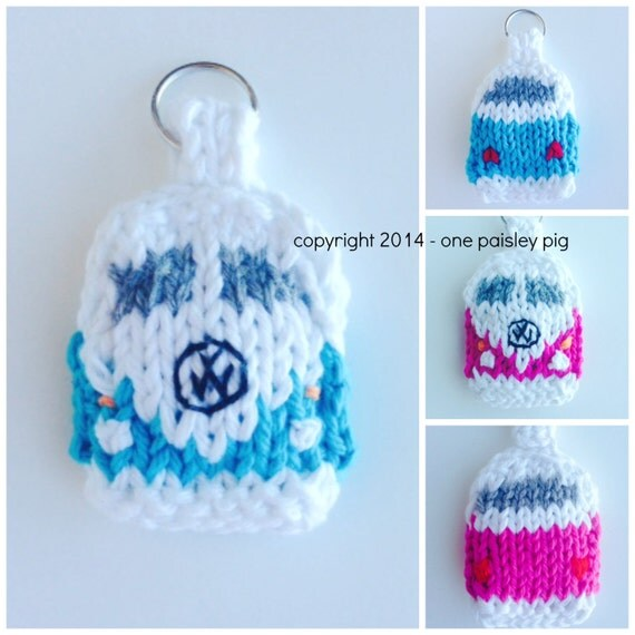 Vw Campervan Knitting Pattern : Knit VW Campervan Key Tag or Applique - KNITTING PATTERN from OnePaisleyPig o...