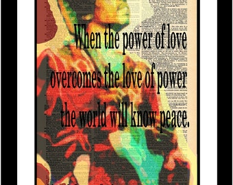 Jimi Hendrix Quote Printed on vintage dictionary paper Unique piece of print art. Rock Insiprational Gift Song Music Decal