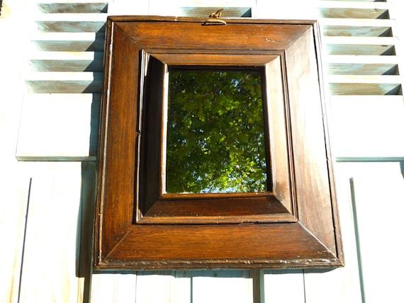 Ancien miroir fran ais en bois cachette dans un double fond for Miroir francais