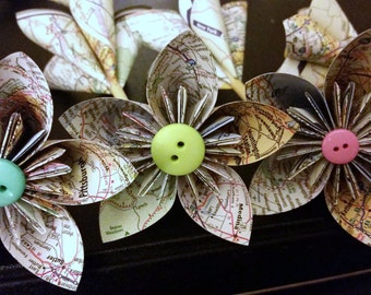 Map origami flowers... Oh, the Places You'll Go... travel...graduation gift