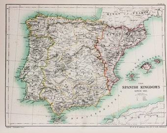 Antique Map : Spain, Spanish Kingdoms since 1513. Published 1902, Lovely Pastel Colours