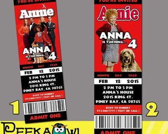 Printable Annie Movie Invitation Ticket, Annie Invitation card, Annie Birthday Party!!!