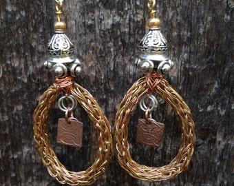 Handmade Tribal - Bohemian - Steampunk - Celtic fusion double wire Viking weave loop pendant earrings