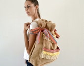 Burlap backpack embellished with trims / Handmade bag / Weekend bag / Naturally colored burlap