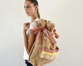 Burlap backpack embellished with trims / Handmade bag / Weekend bag / Naturally colored burlap