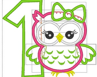 Owl Embroidery design, Owl Embroidery Applique, 1st birthday embroidery design, Owl 1st Birthday, Cute Girl Owl machine embroidery