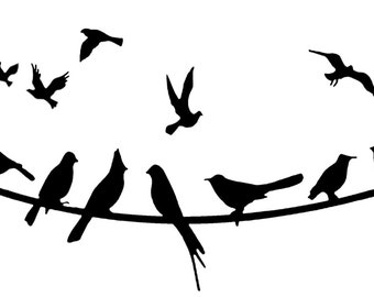 Flying birds on wire vinyl decal/sticker
