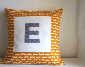 Personalised cushion cover with Initial : Little Moustache Mustard 18""