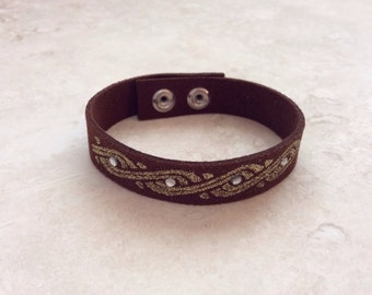 Brown Suede with Glitter and Rhinestones Bracelet