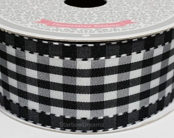 "1 1/2"" Polyester Gingham with Saddle Stitch - Black - 10 Yards"