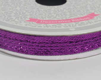 "3/8"" Wired Solid Metallic Ribbon - Purple - 10 Yards"