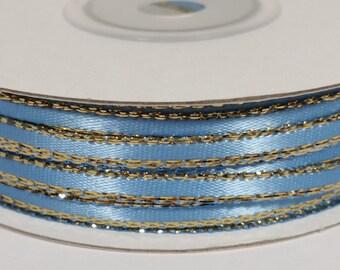 "1/8"" Satin Ribbon with Gold Edge - Blue Mist"